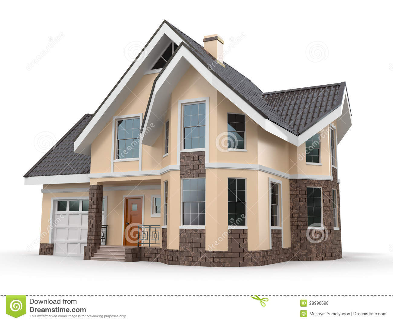 house on white background three dimensional image royalty