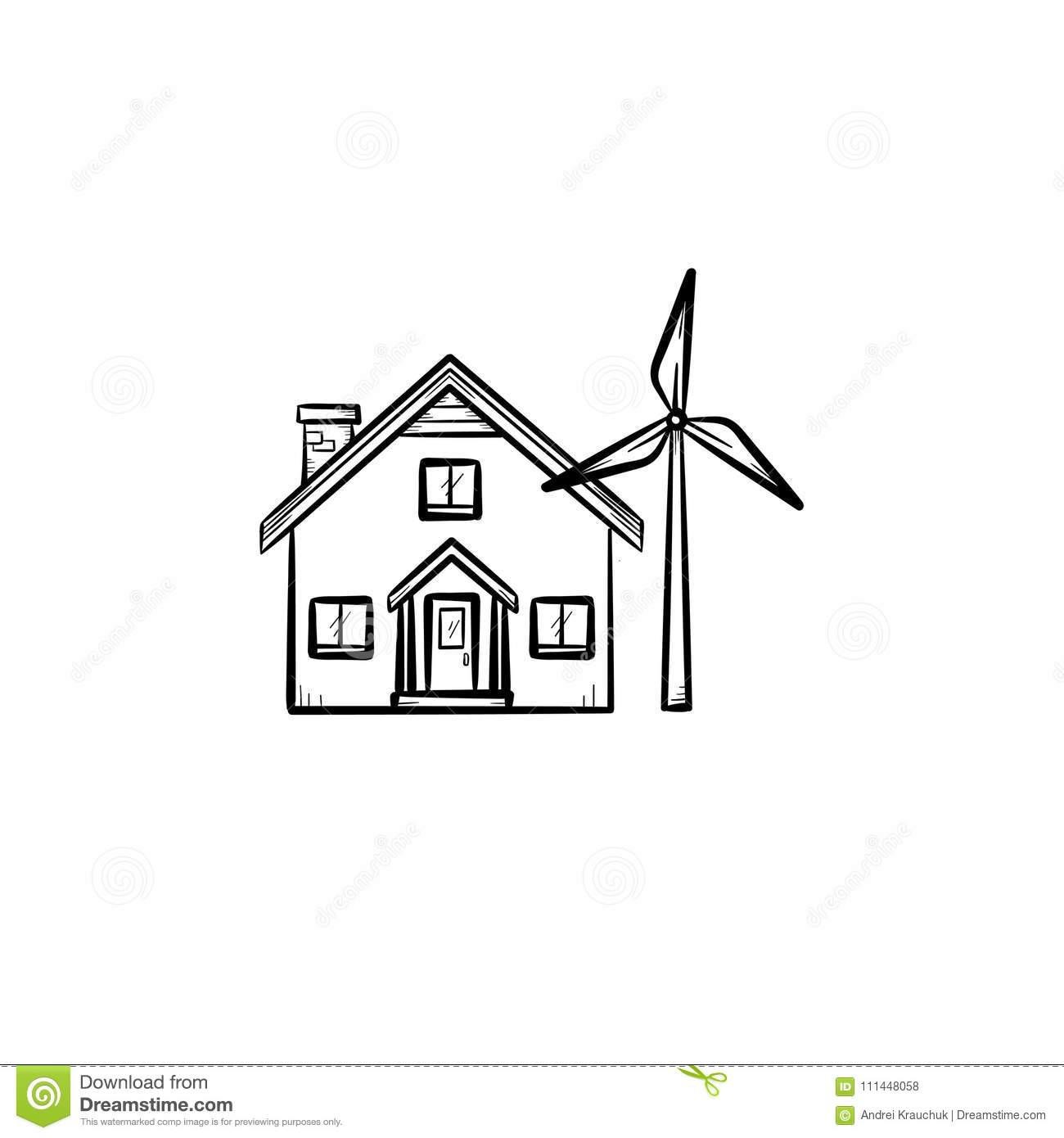 House With Wind Generator Hand Drawn Icon Stock Vector Diy Turbine Wiring Diagrams