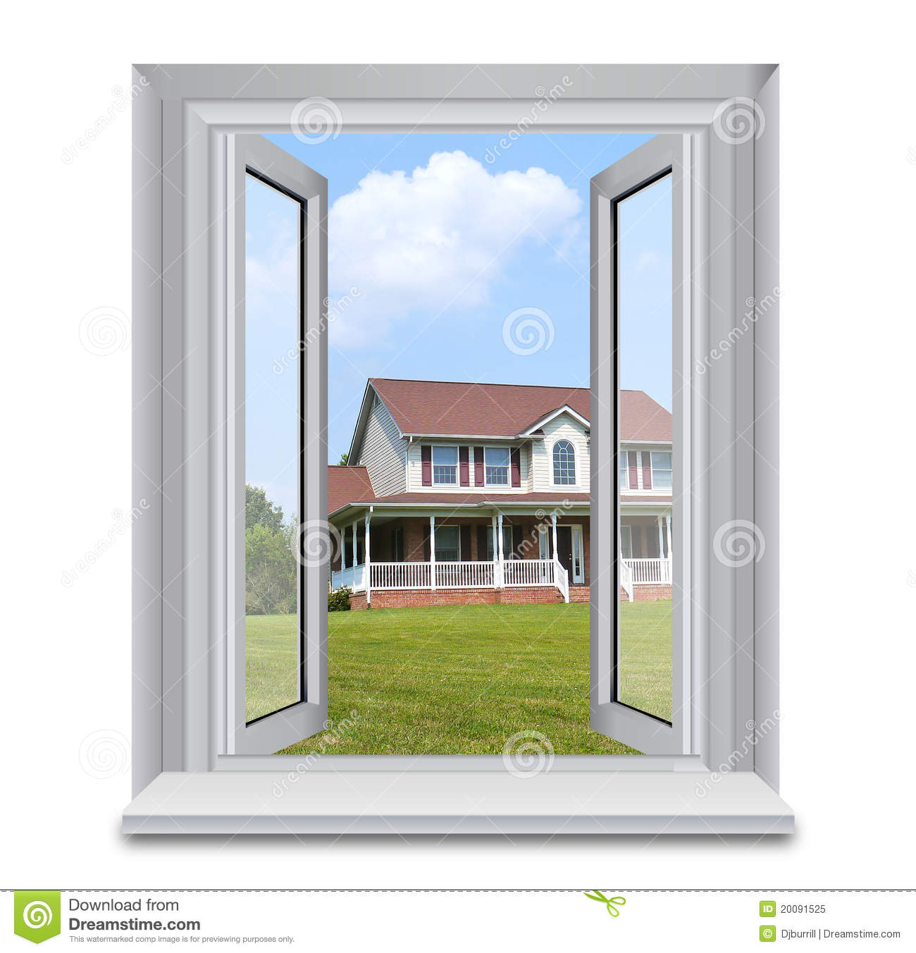 House through window stock image image of house blue for Windows for my house