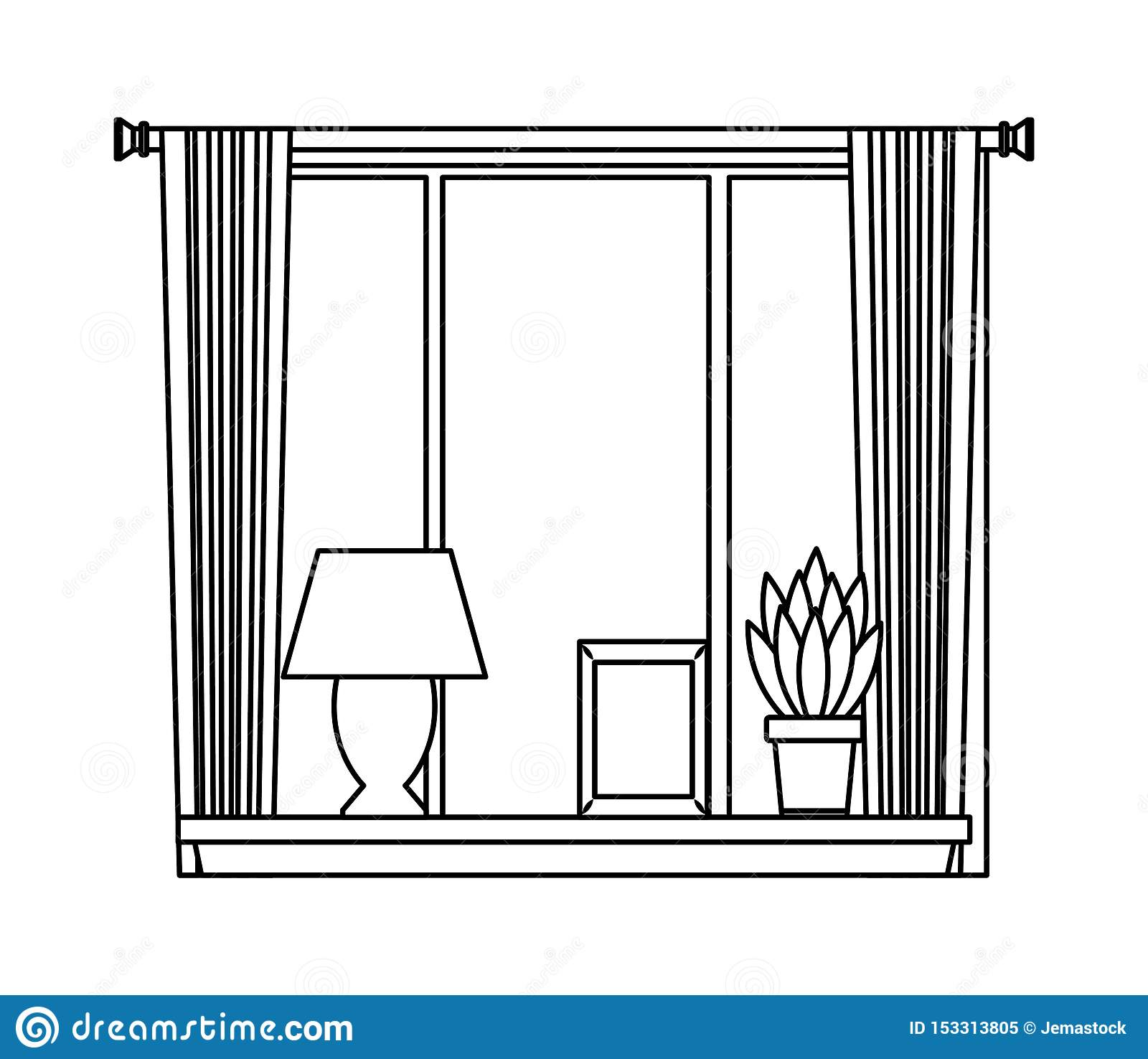 House window with light lamp picture and plant pot on shelf in black and white