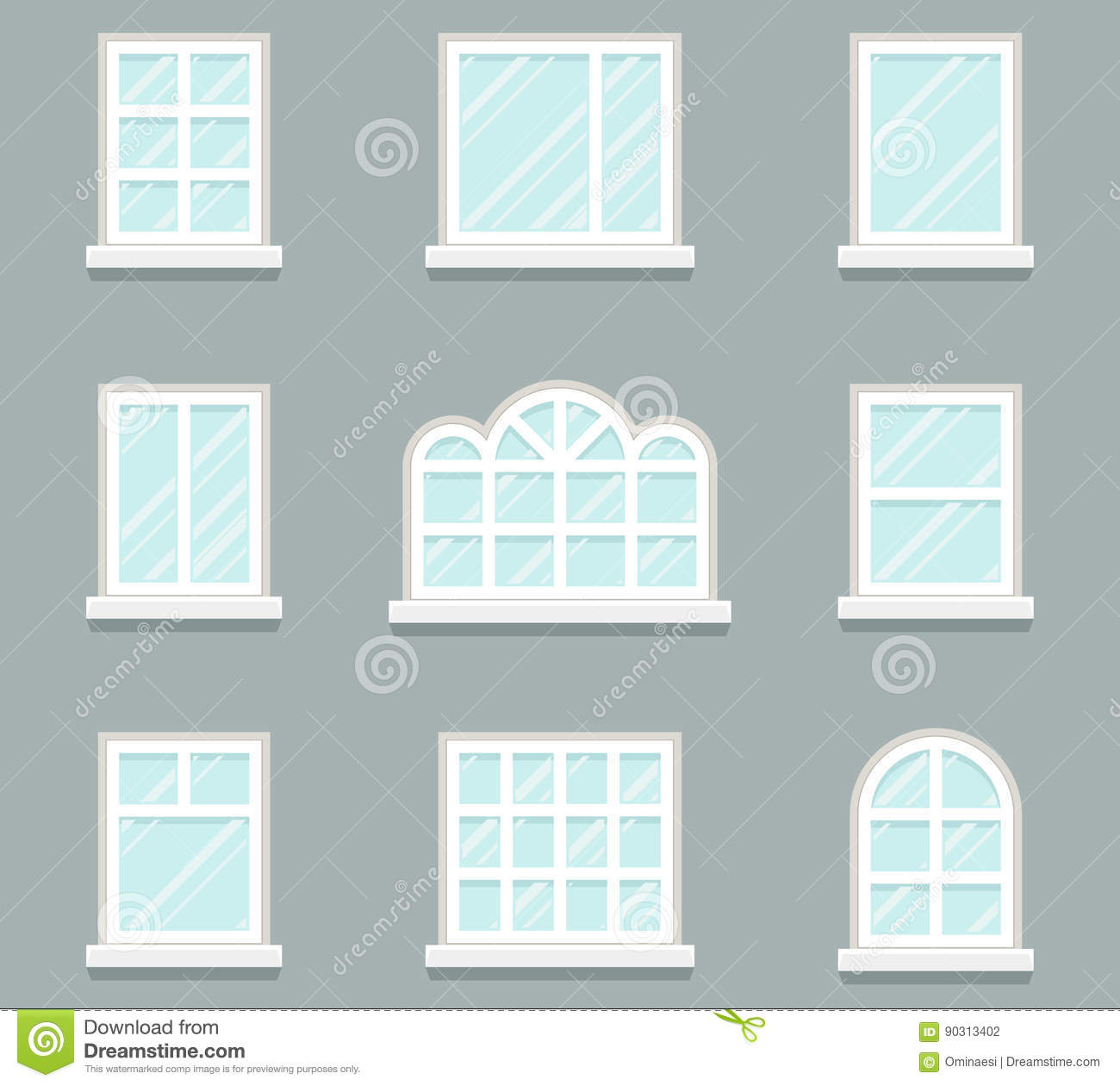 House windows building glass icons set flat design for Window design template
