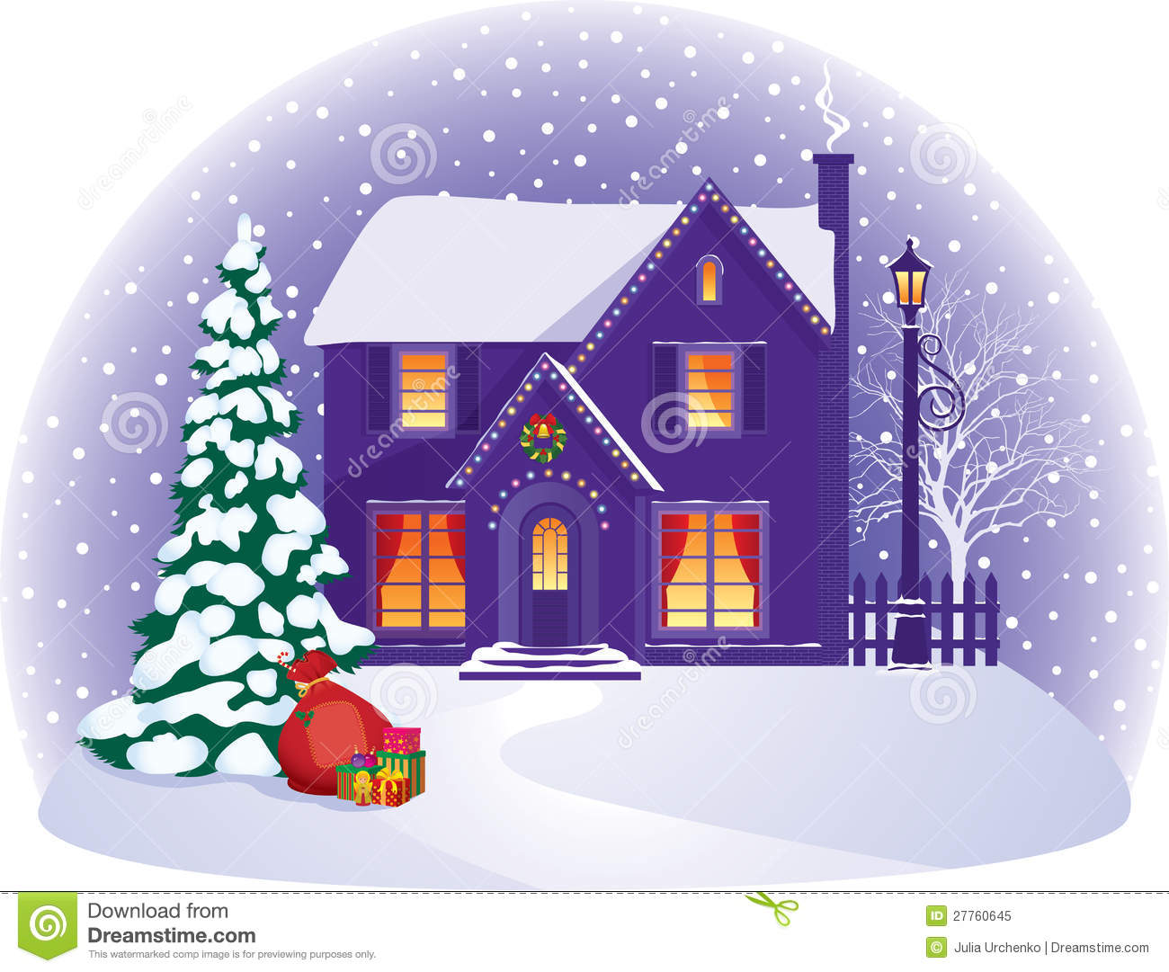 House In Winter Christmas Night Royalty Free Stock Photo - Image ...