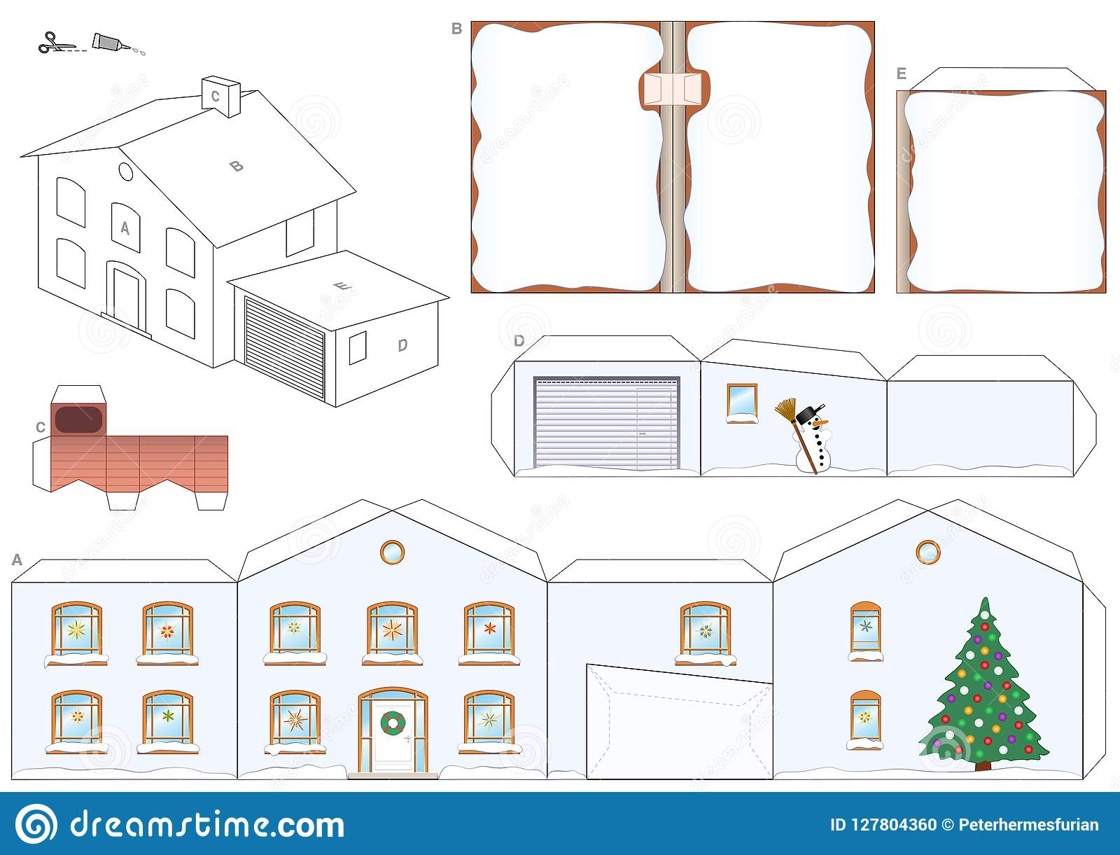 house winter christmas snow paper model template stock vector