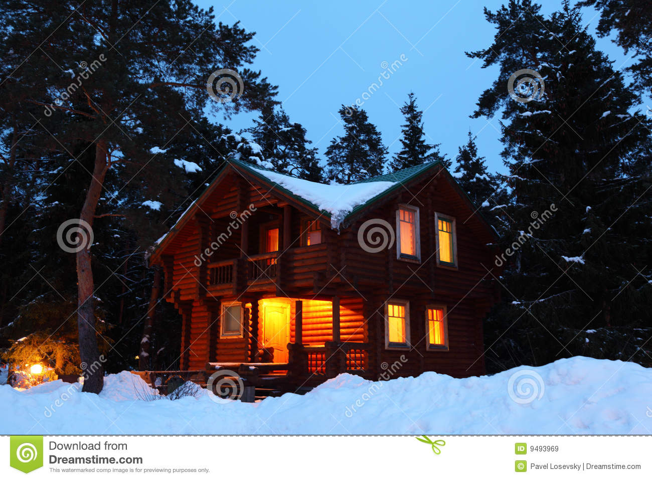 Twilight House house in winter wood in twilight royalty free stock images - image