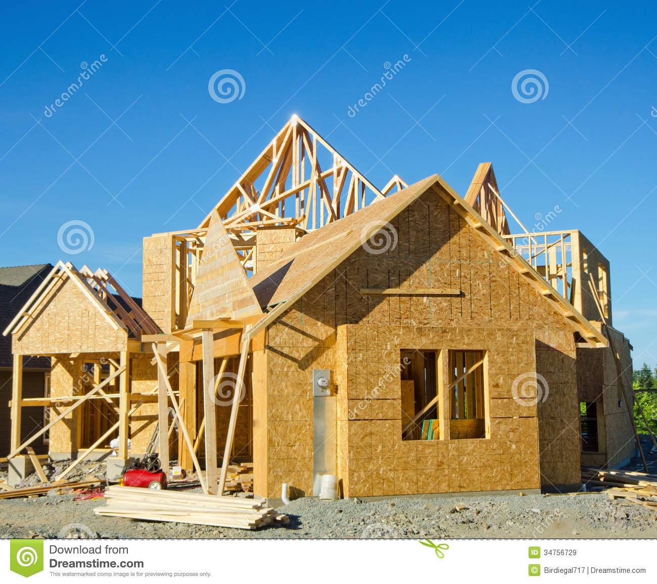 house wood frame construction royalty free stock images