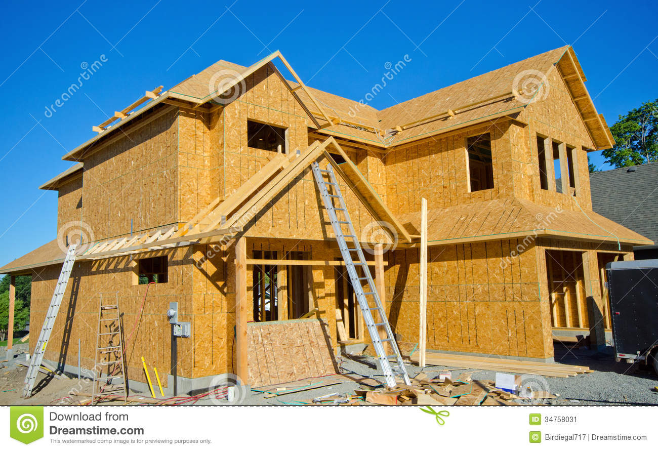 House wood frame construction stock image image 34758031 for House building contractors