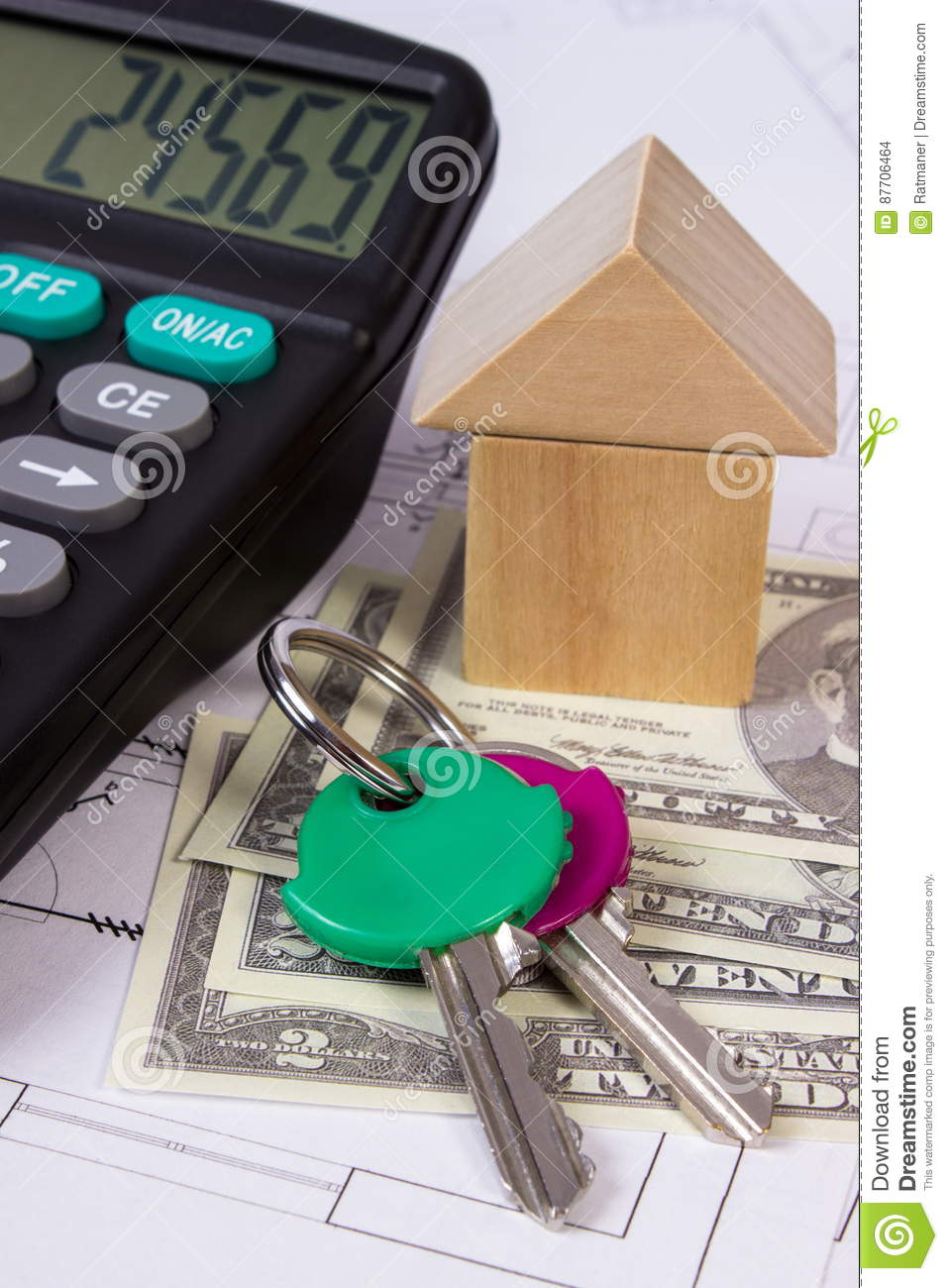 House of wooden blocks and currencies dollar with for Building home calculator