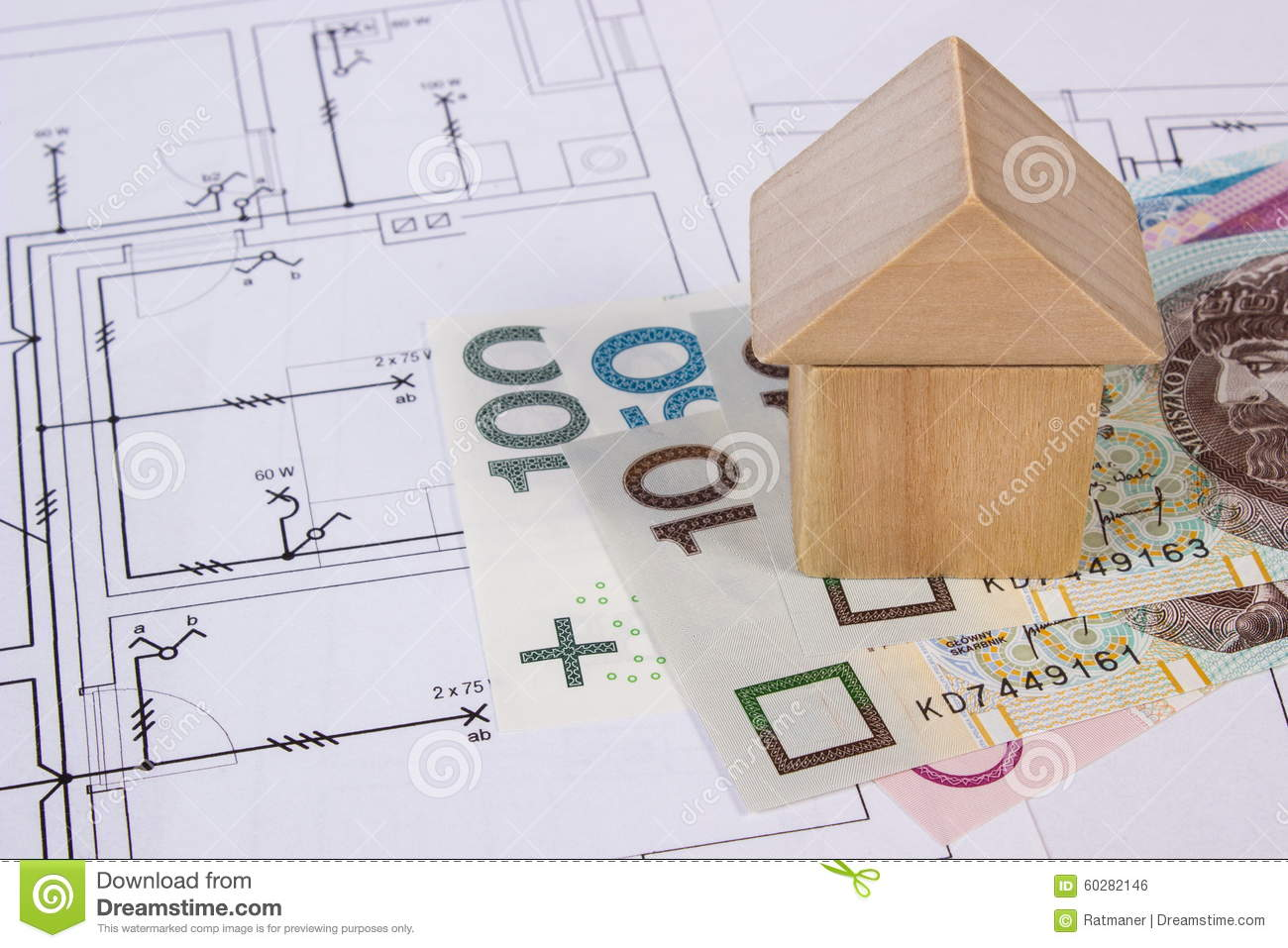House Of Wooden Blocks And Polish Currency On Construction Drawing Electrical In Building Concept