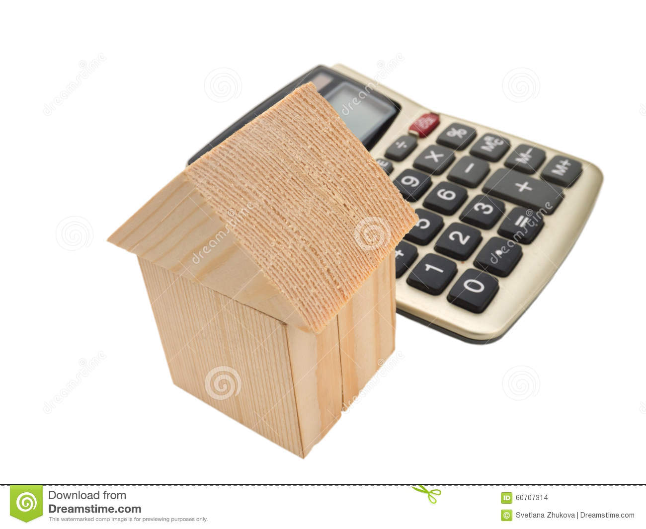 House of wooden building blocks with calculator stock for Build new house calculator
