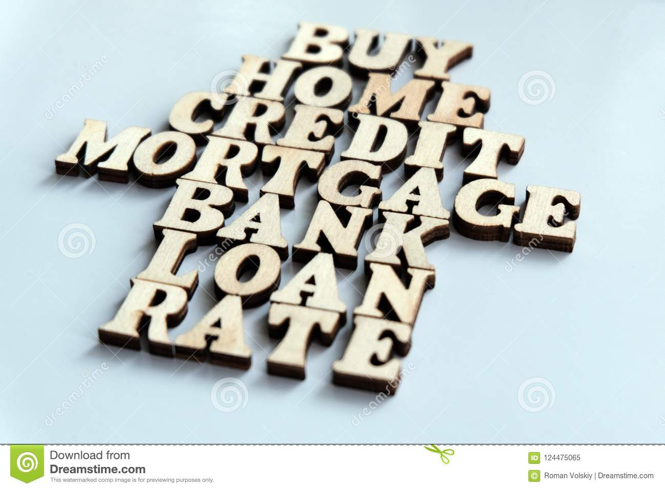 House Of Wooden Letters The Words Buy Home Credit Mortgage Bank
