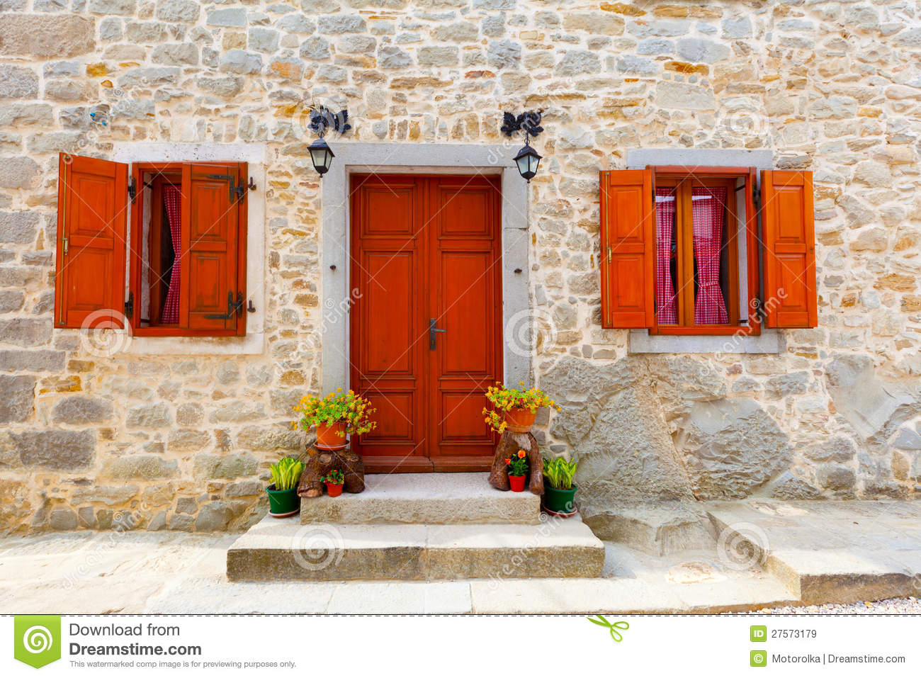 House with wooden windows and door royalty free stock - Puertas antiguas de madera ...