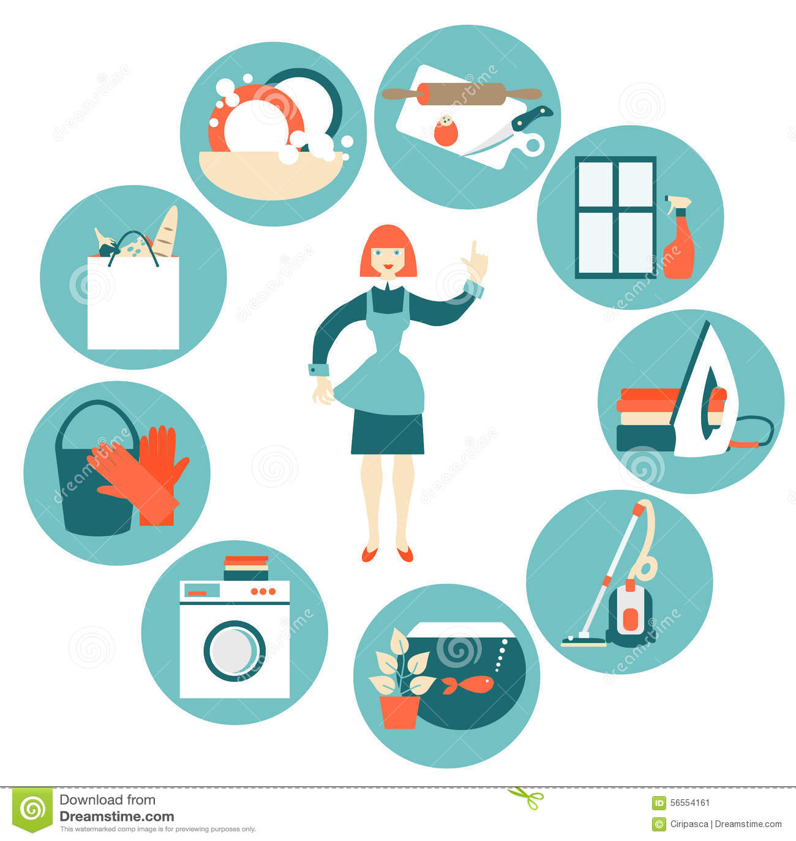 House Work Concept Vector Illustration Stock Vector