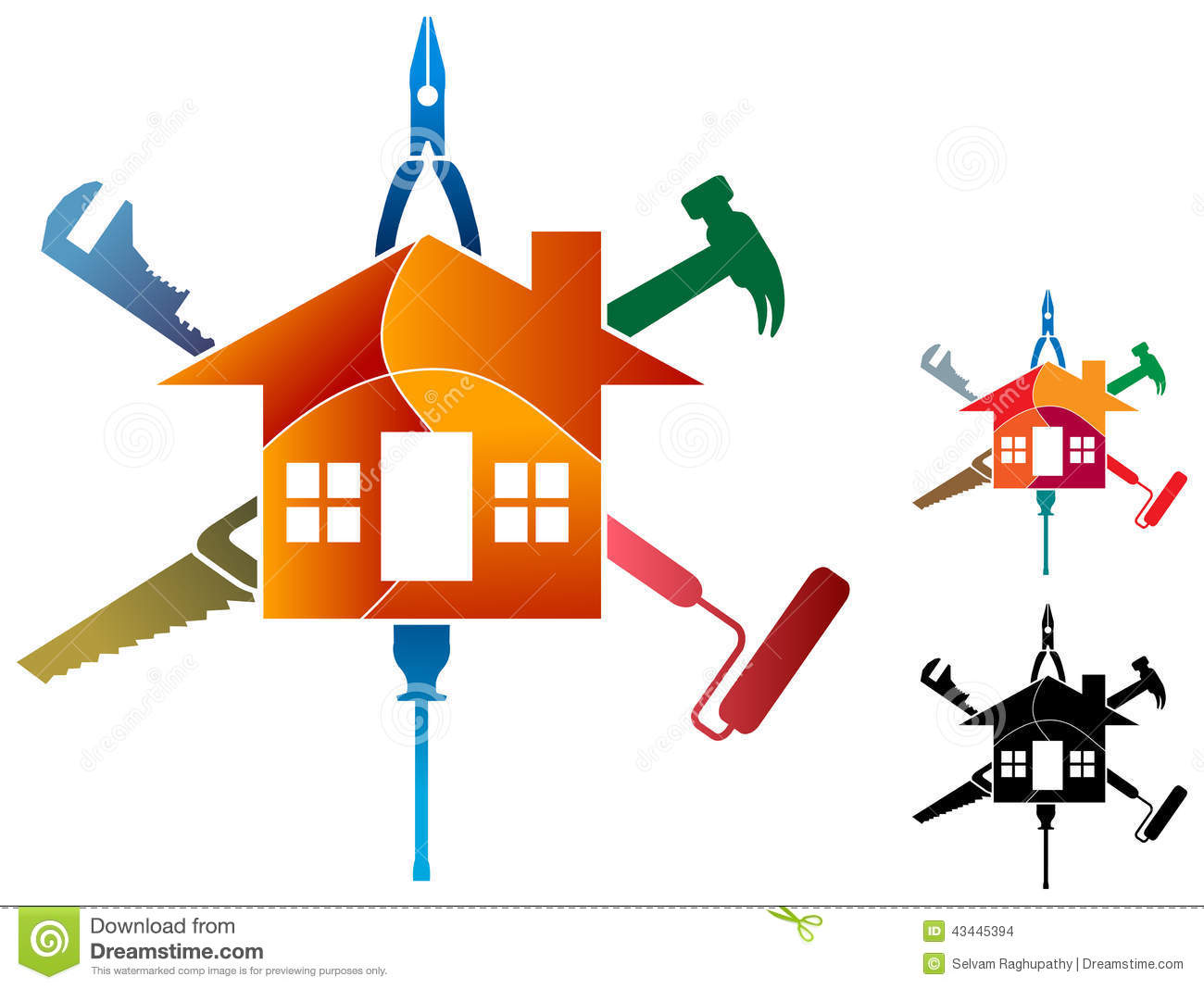 House Work Logo Stock Vector Image 43445394