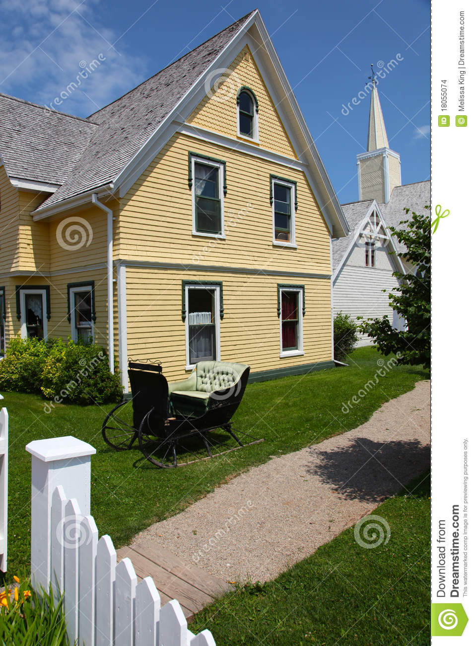 House With Yellow Siding Stock Photo Image Of Sled