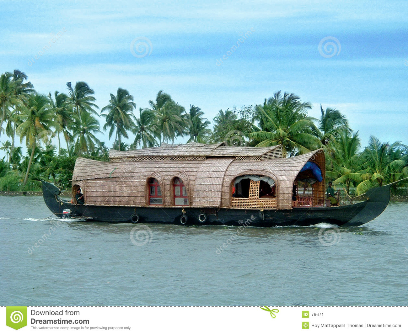 Download Houseboat stock image. Image of boating, coconut, water - 79671