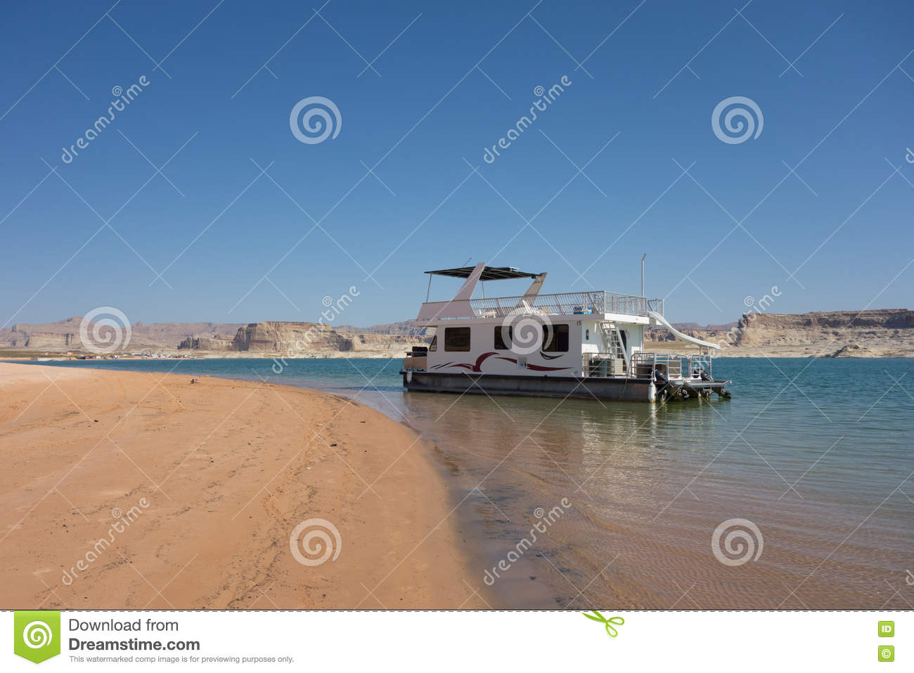 A Houseboat For Rent At Lake Powell Utah Stock Image