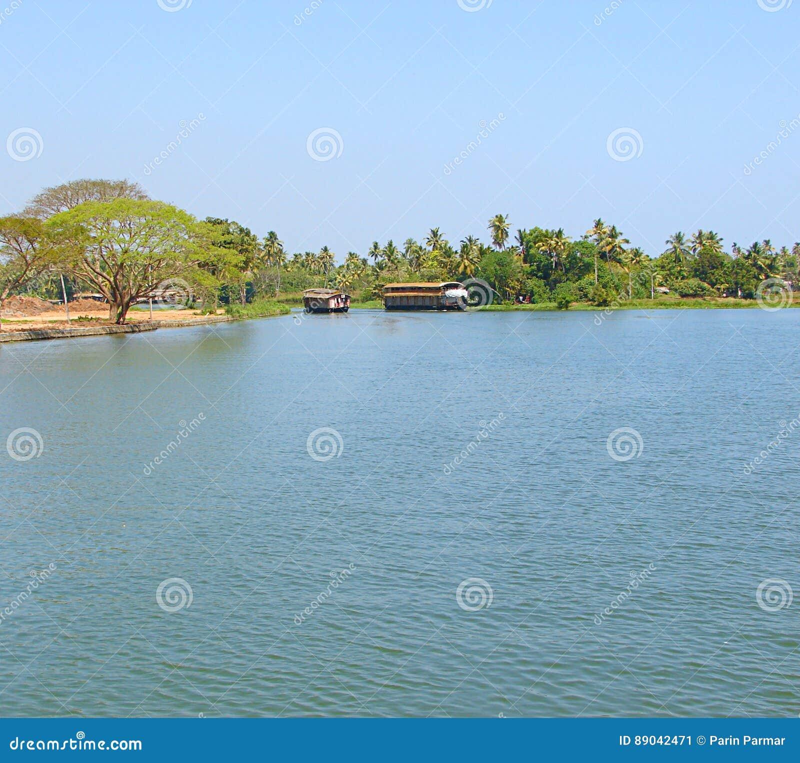 Houseboats In Backwaters In Kerala, India Stock Image