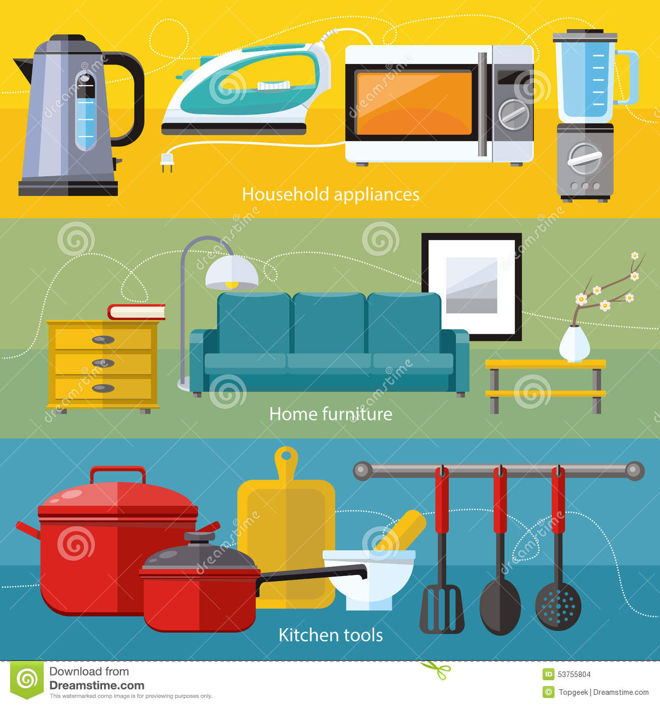 Household appliance furniture cooking serve meal stock vector image 53755804 - Household tools ...