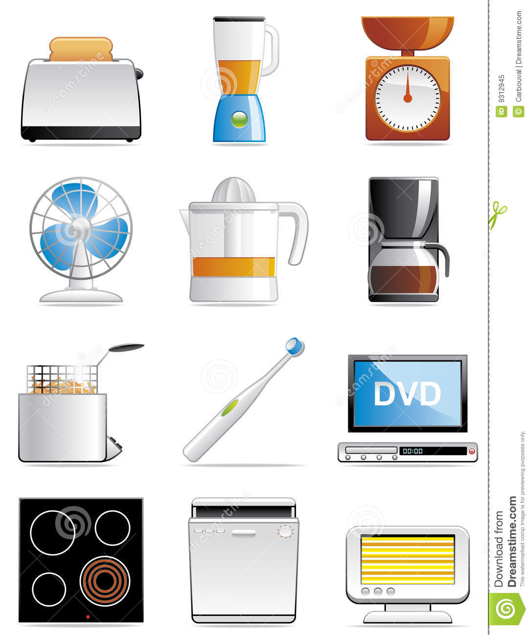 Household appliance icons stock vector. Illustration of ...