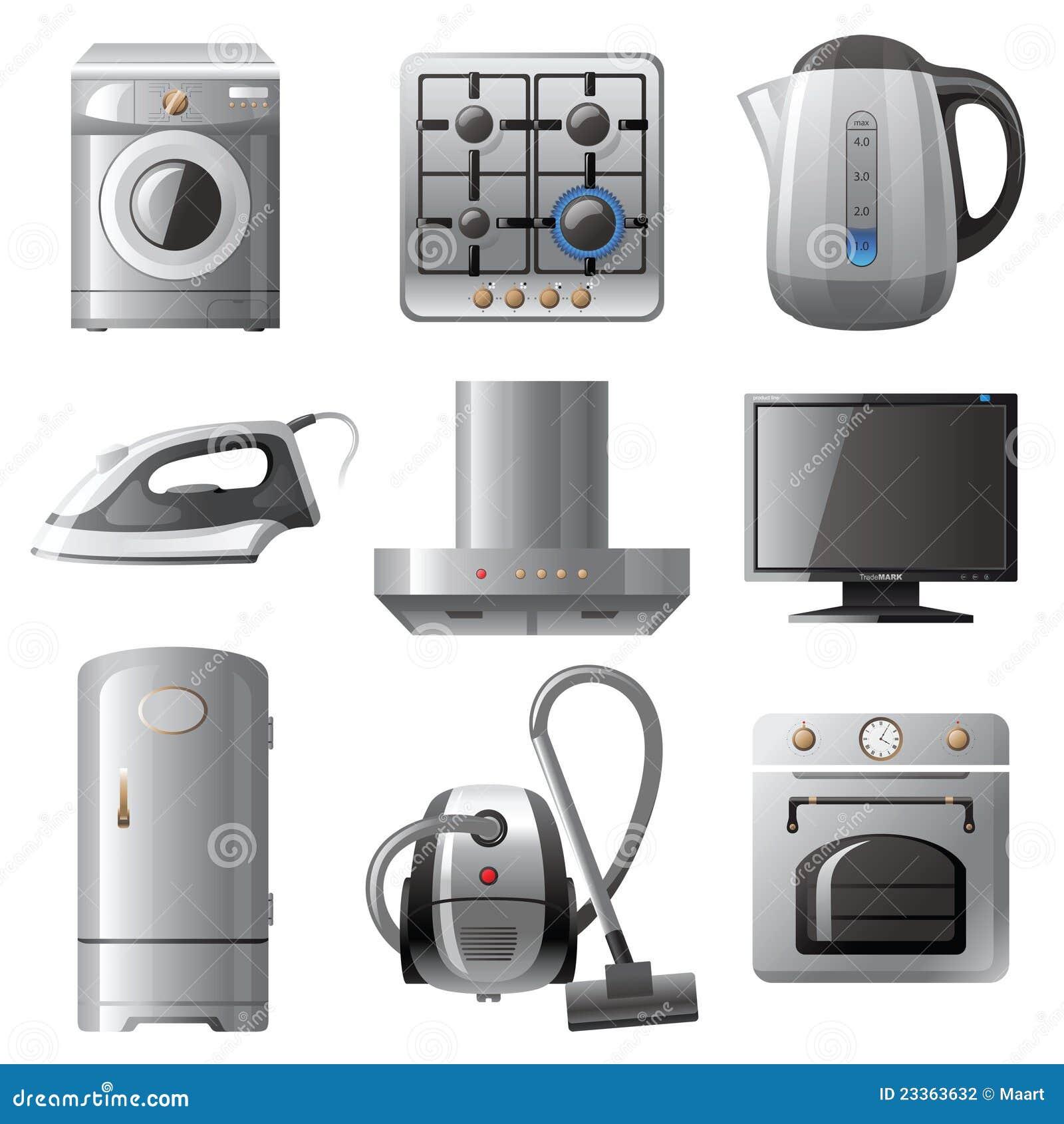 Household appliances stock vector illustration of buttons - Electrodomesticos retro ...