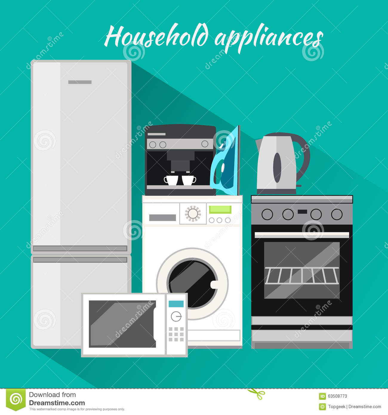 Household appliances flat design stock vector for Household appliances design