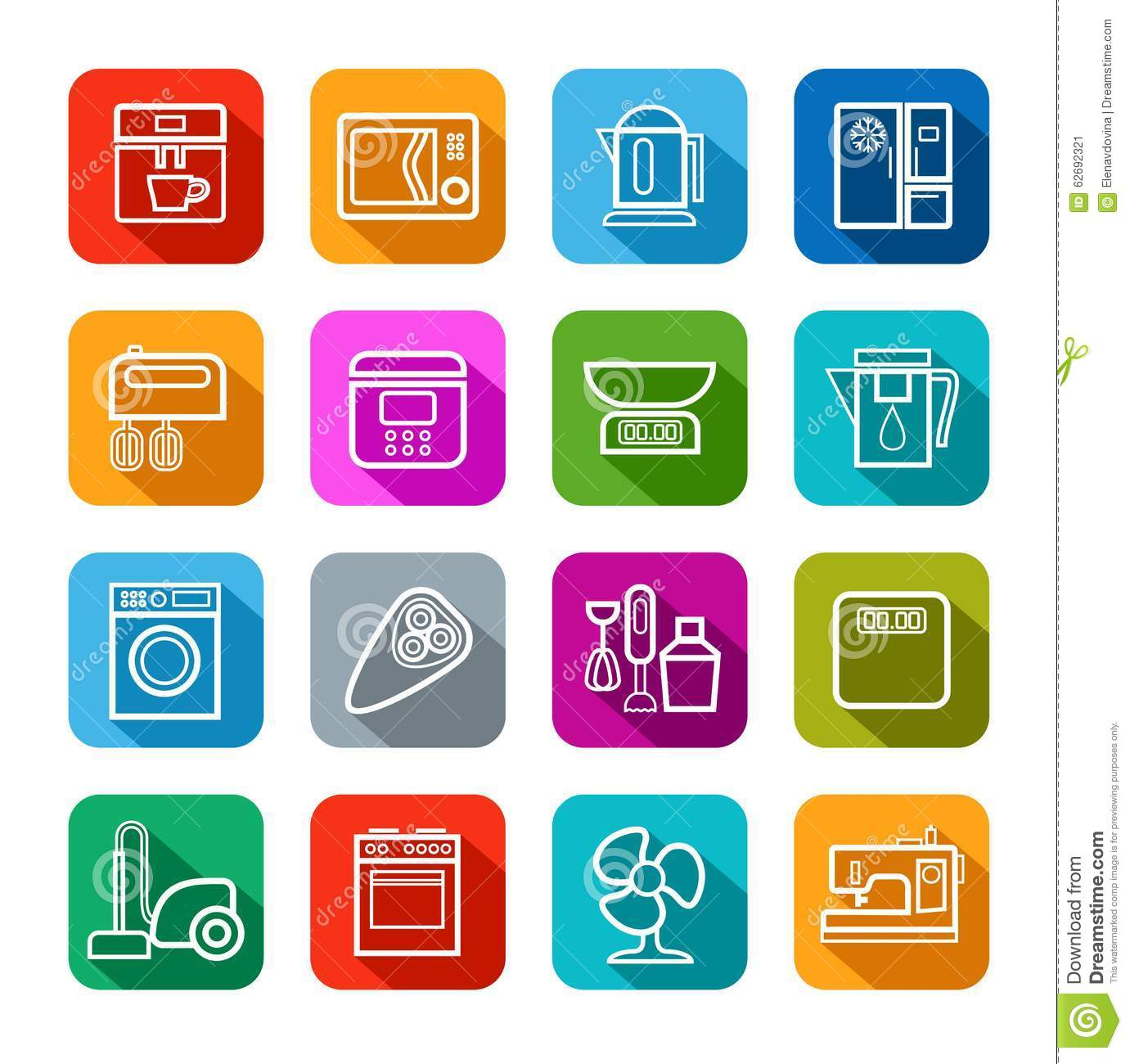 Household appliances line vector icons cartoon vector - Electrodomesticos de colores ...