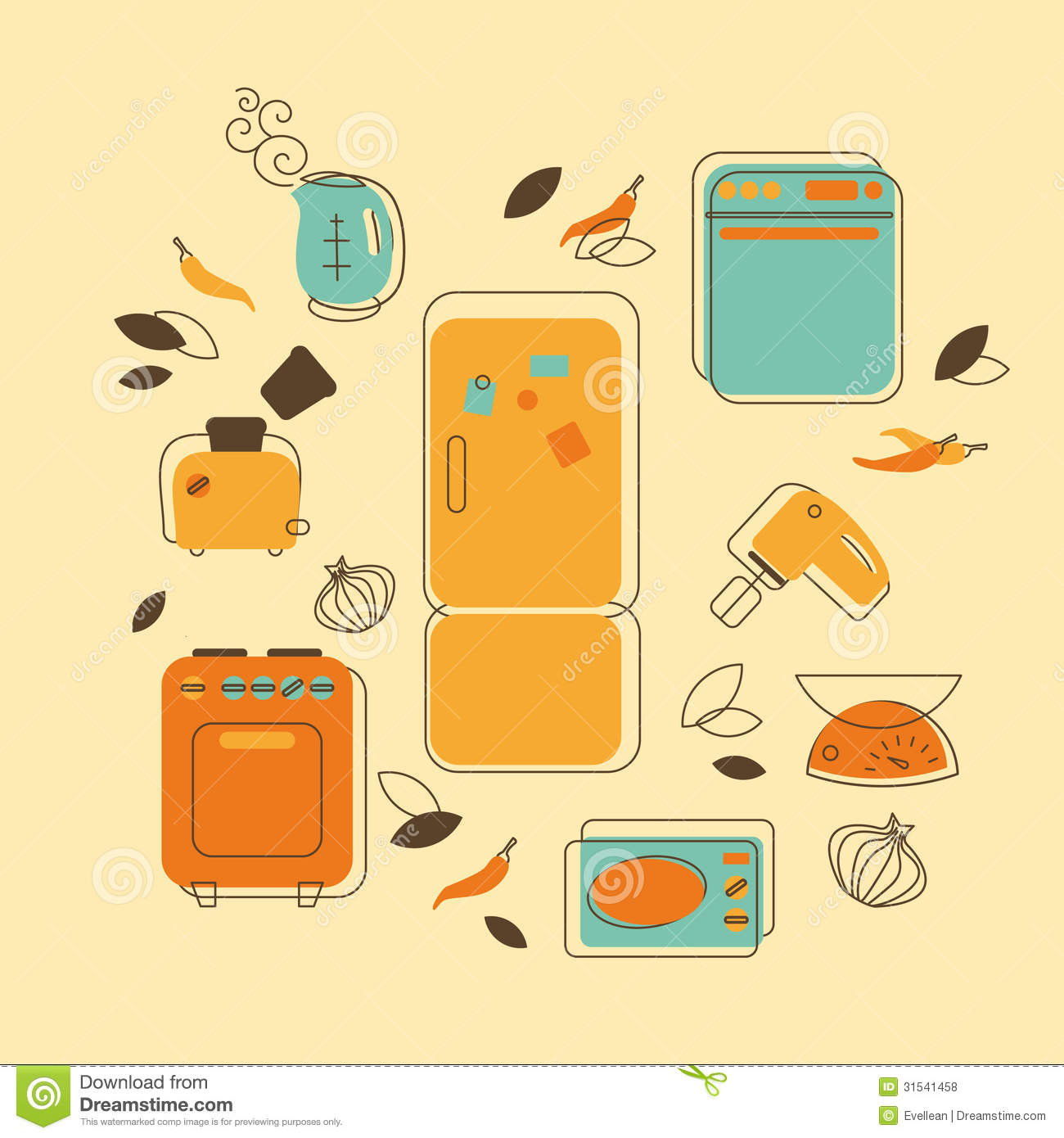 Retro Kitchen Illustration: Household Appliances Royalty Free Stock Photos