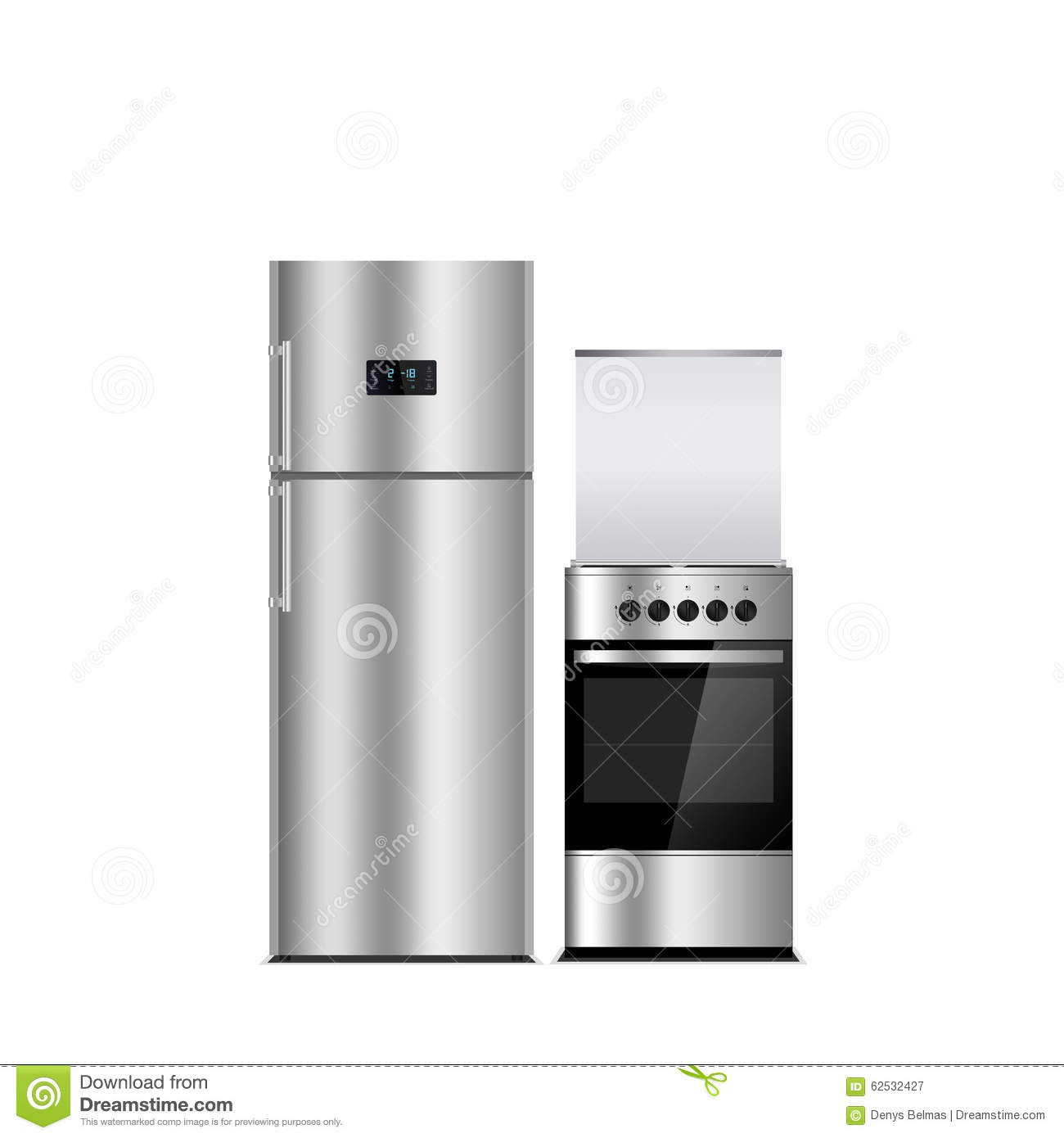 household appliances on a white background stainless steel color refrigerator and stove. Black Bedroom Furniture Sets. Home Design Ideas