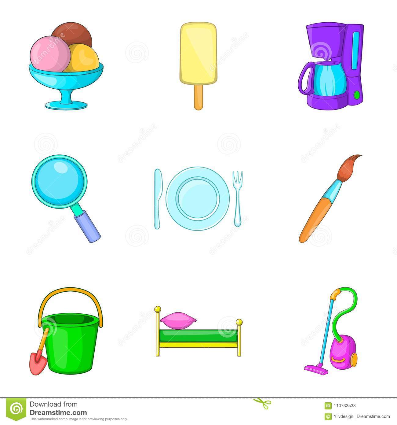 Household articles icons set, cartoon style