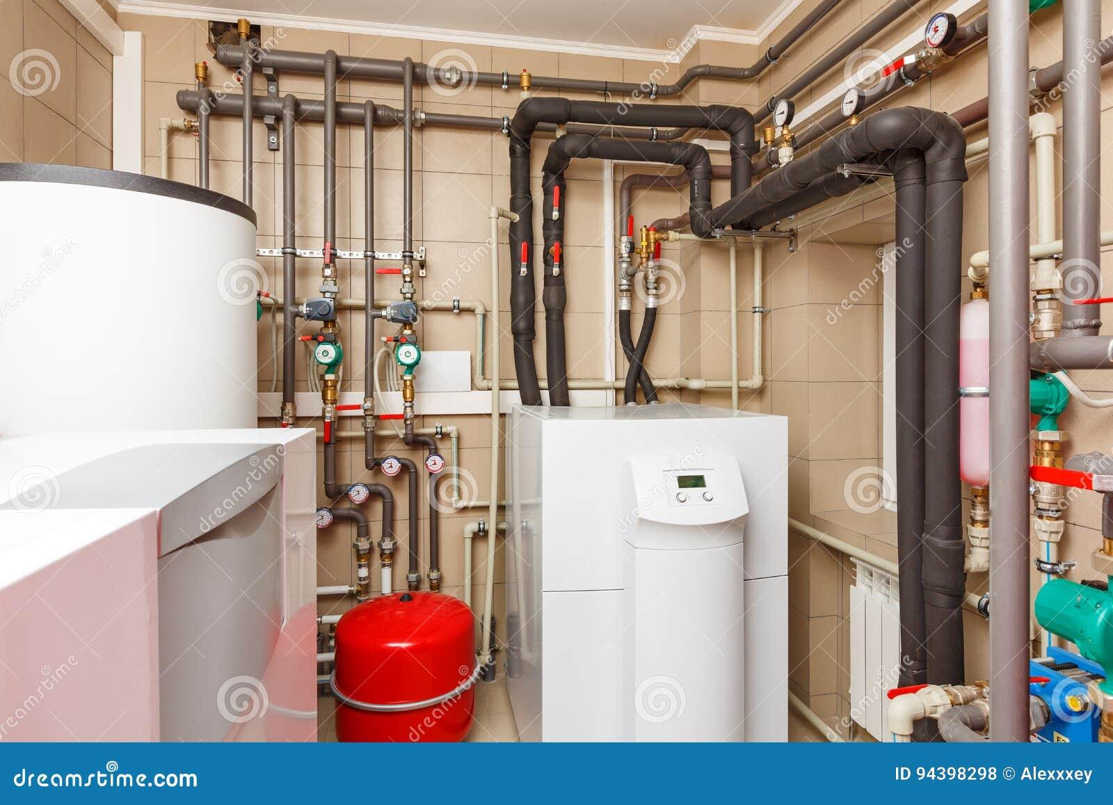 Household Boiler House With Heat Pump, Barrel; Valves; Sensors A ...