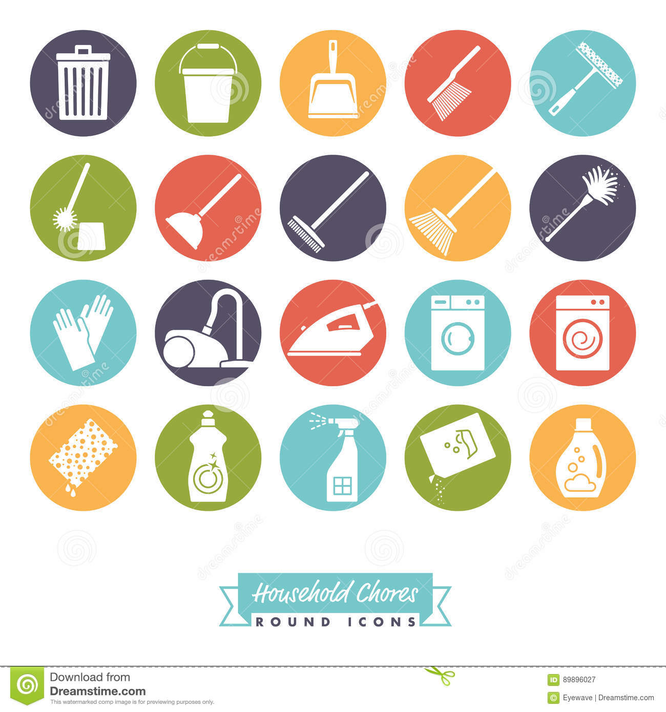 Household Chores Round Color Icon Set Stock Vector