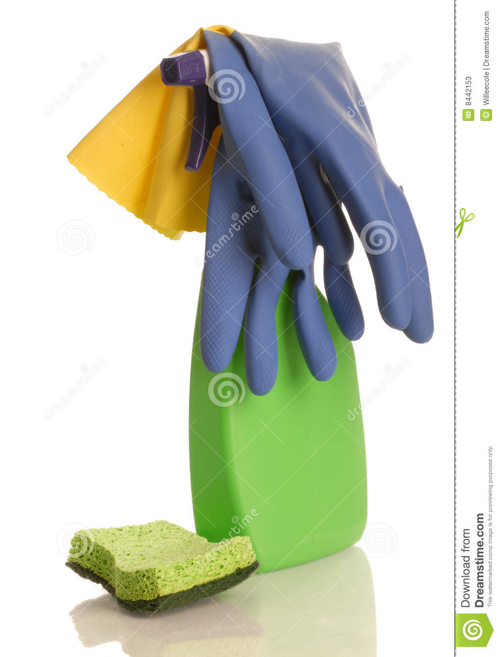 Household cleaner and gloves