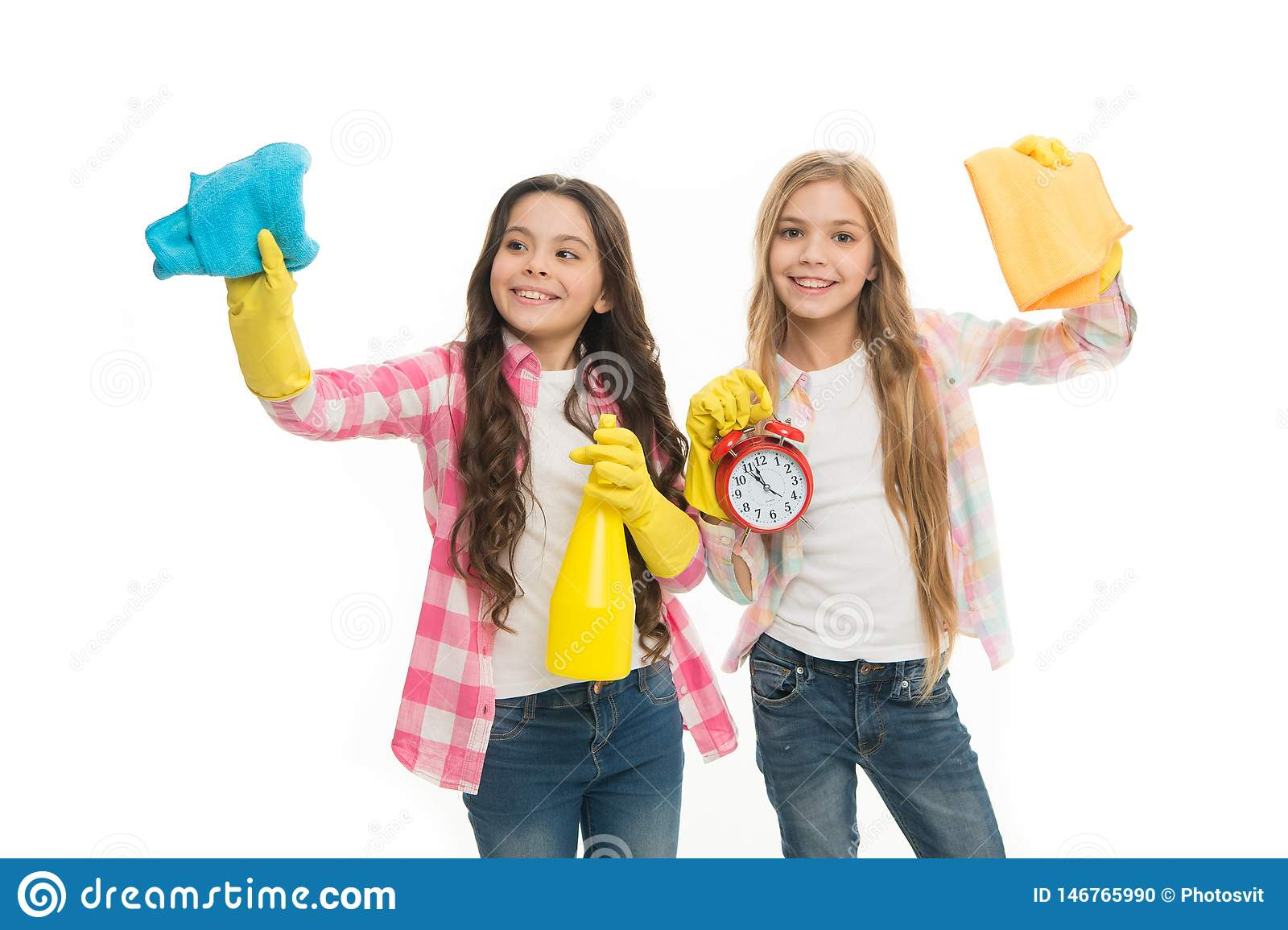 Household duties. Girls with rubber protective gloves ready for cleaning. Informal education. Girls kids cleaning