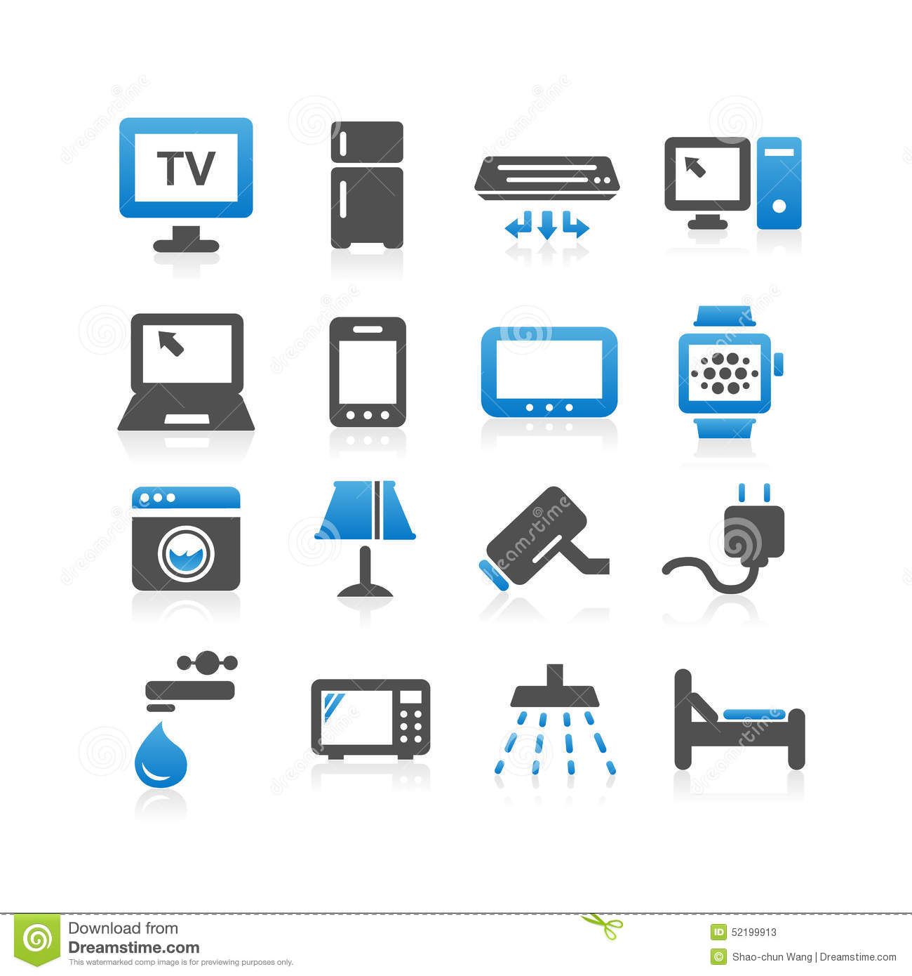 Household Electric Appliance Icon Set Stock Vector Image