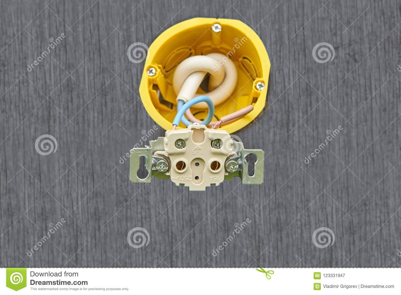 Wall Outlet Household Power With No Upper Cap. Stock Image - Image ...