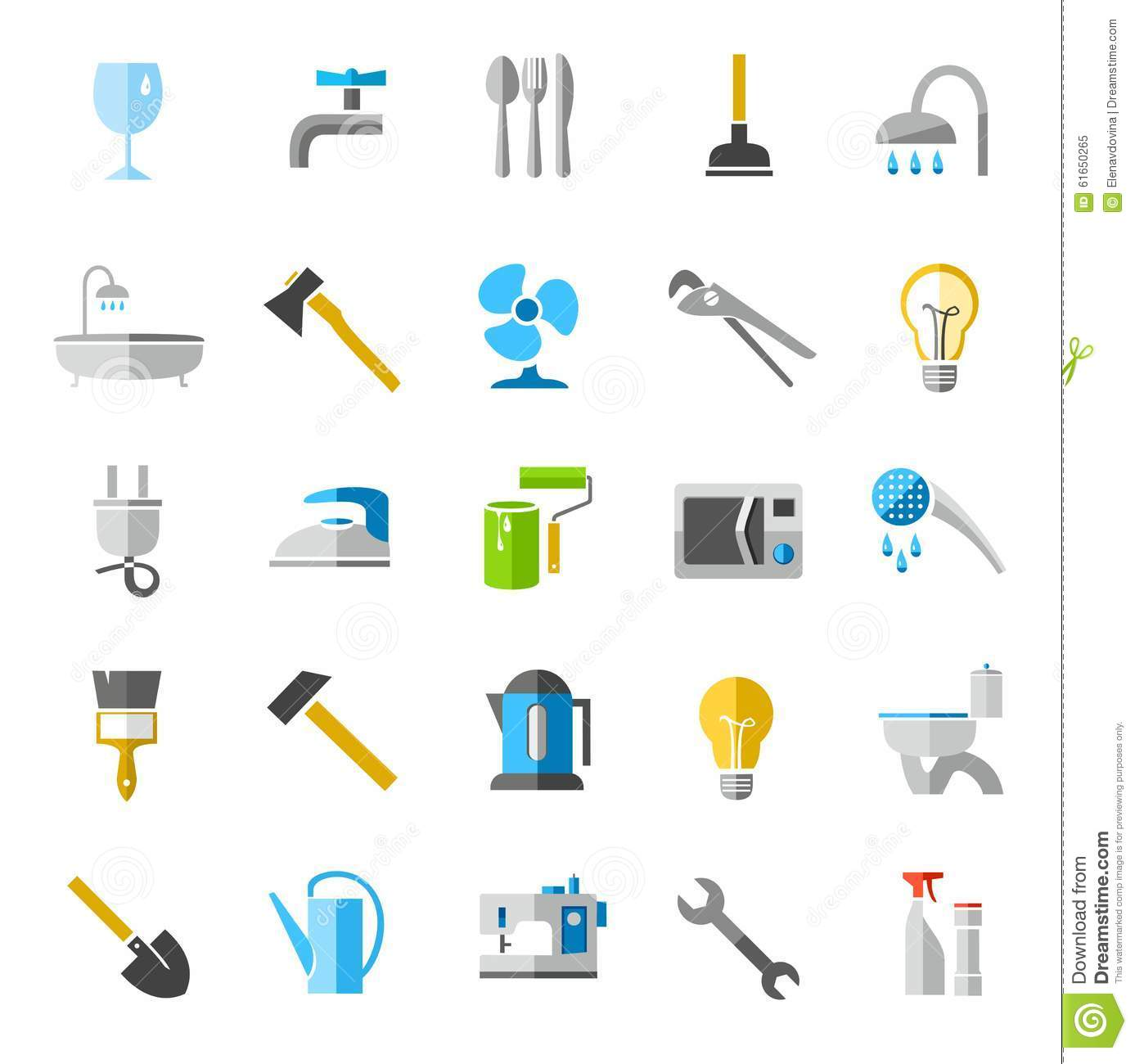 Household goods color icons images stock vector image 61650265 - Household tools ...