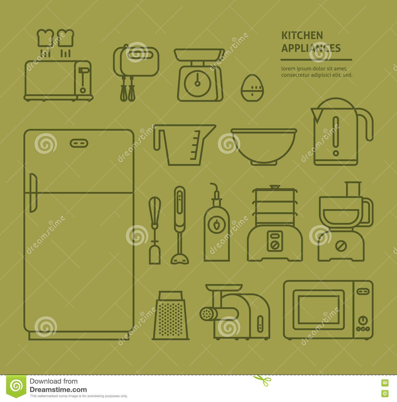 Household icon set cartoon vector for Household appliances design