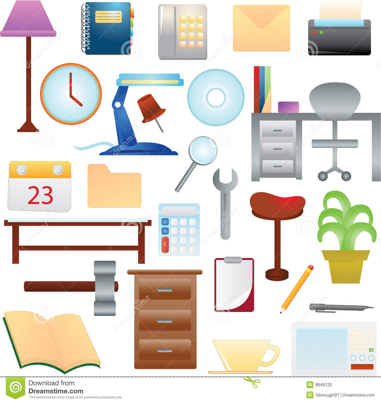 House Hold Items Of Furniture, Everyday Use Items, And Others Vector