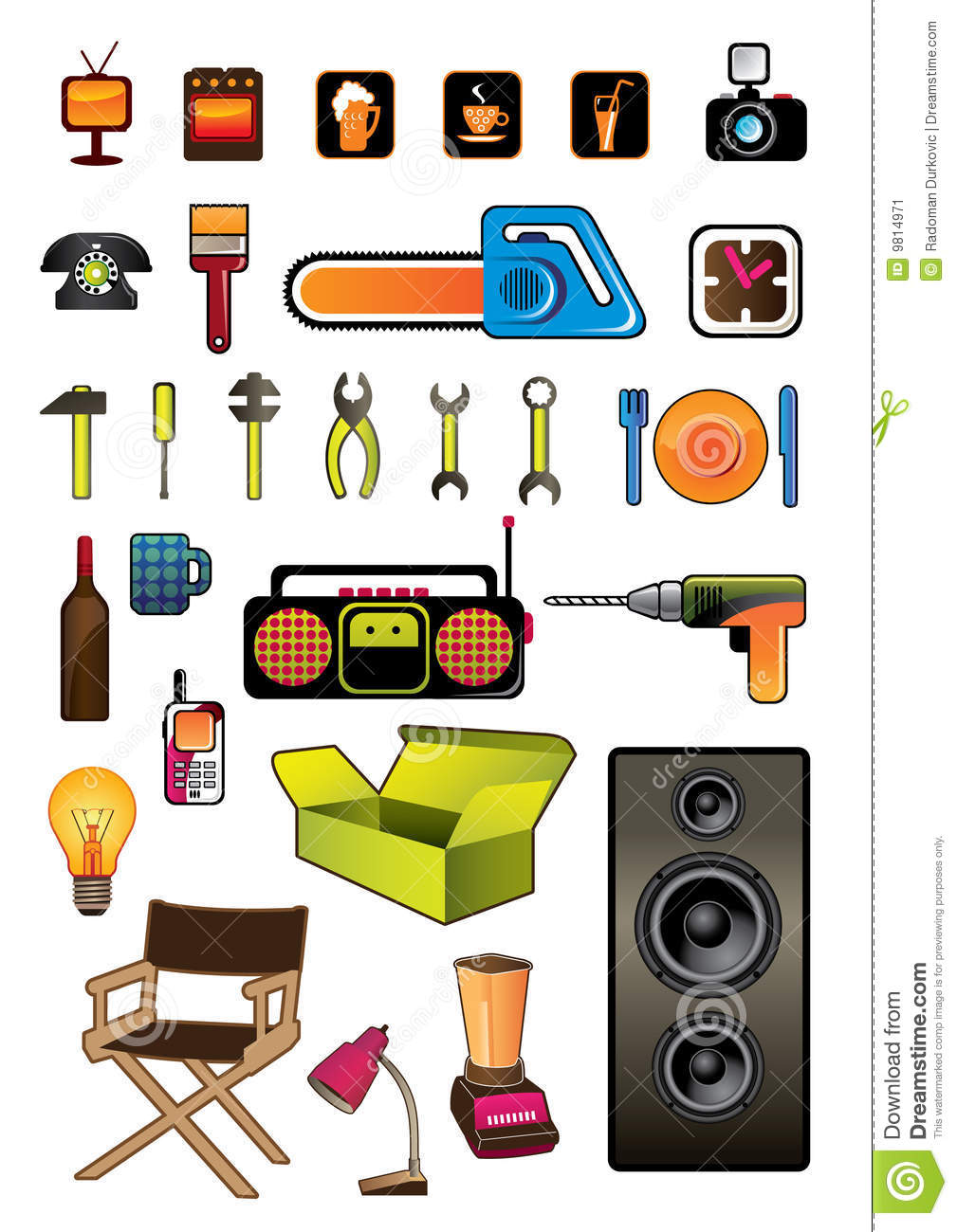 Household items stock vector illustration of kettle home - Articulos de casa ...