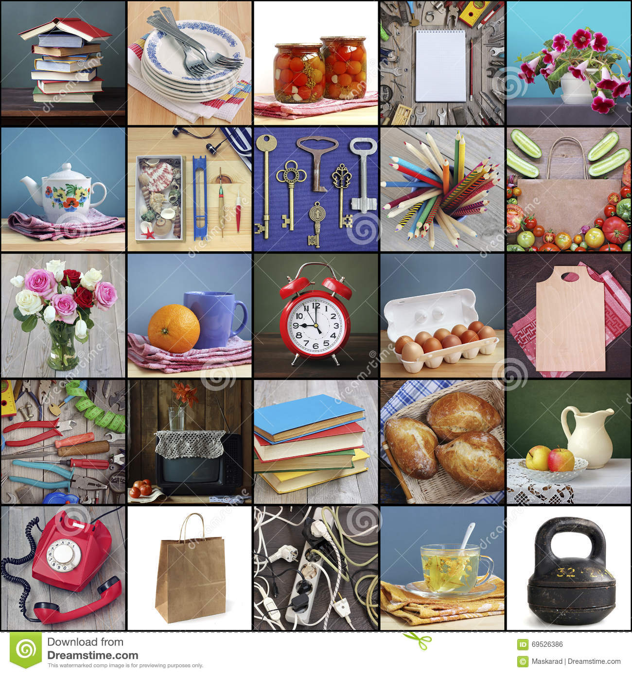 Household items collage dishes electronics food for Articulos originales para el hogar