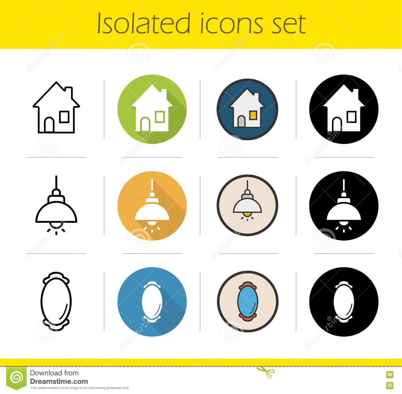 Household items icons set stock vector image 74680102 for Household product design