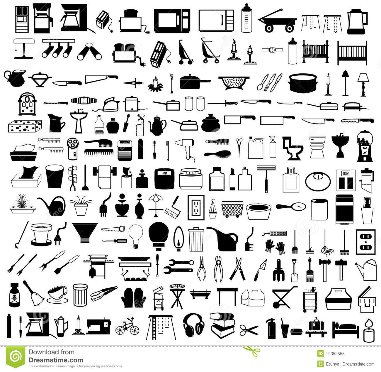 Household Items Set Royalty Free Stock Image Image 12352556