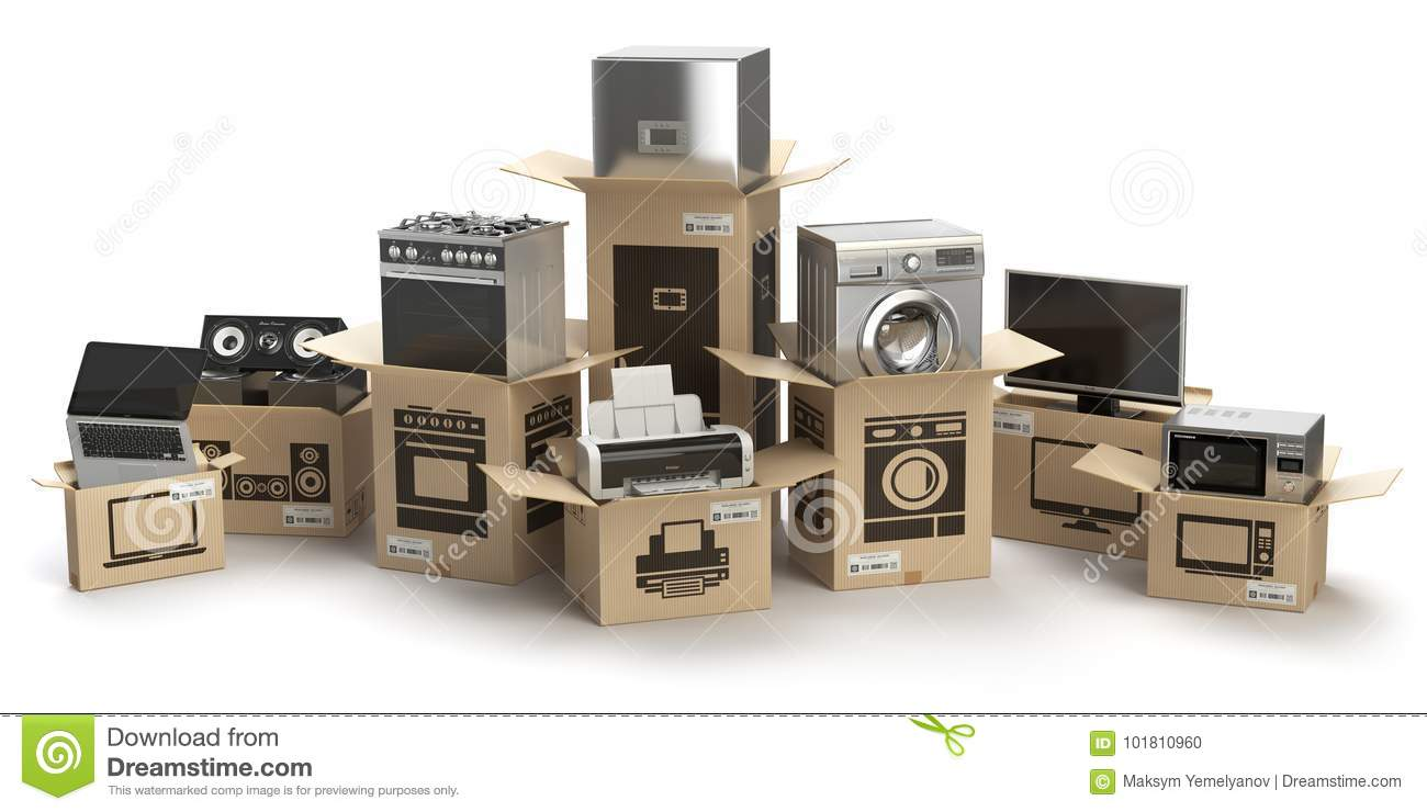 Household Kitchen Appliances And Home Electronics In Boxes ...