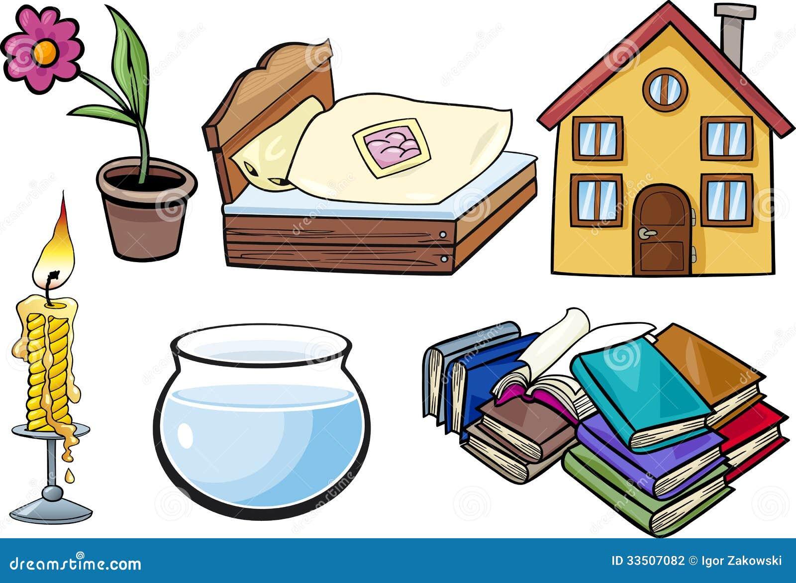 Household Objects Cartoon Illustration Set Stock