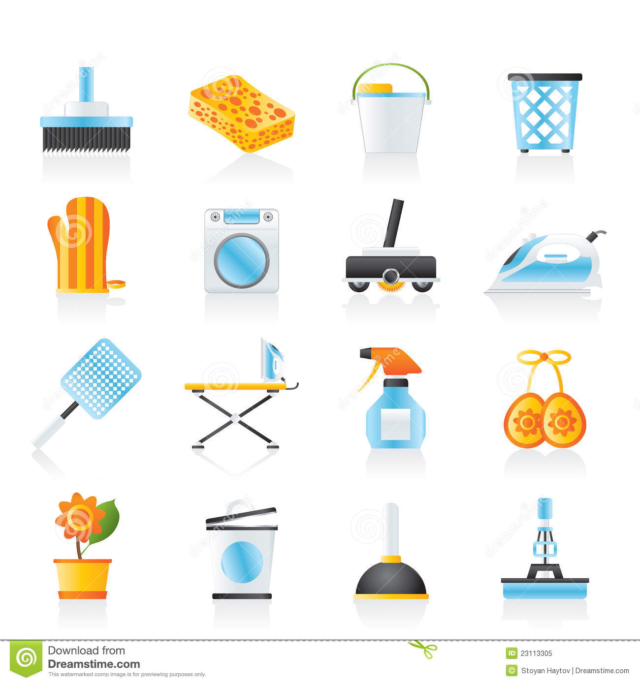 Household Objects And Tools Icons Royalty Free Stock Photo