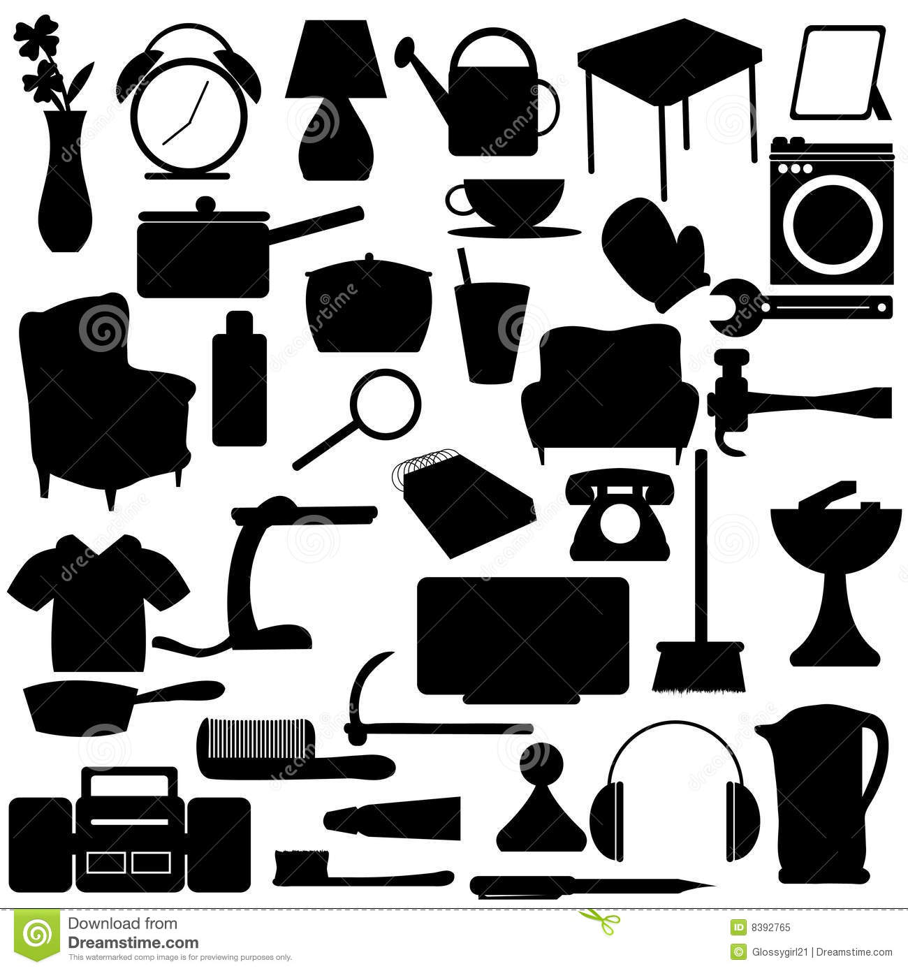Household silhouettes items royalty free stock photo for Other uses for household items