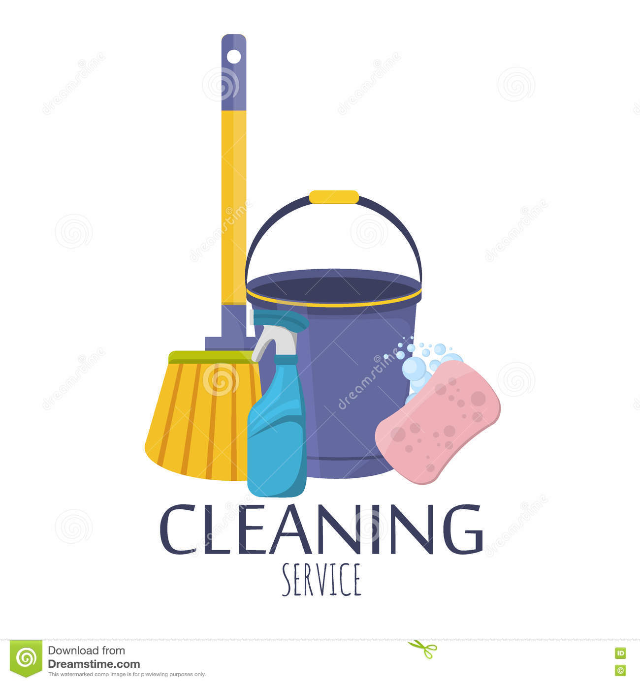 Household Cleaning Products - Spray Bottle, Bucket And ...