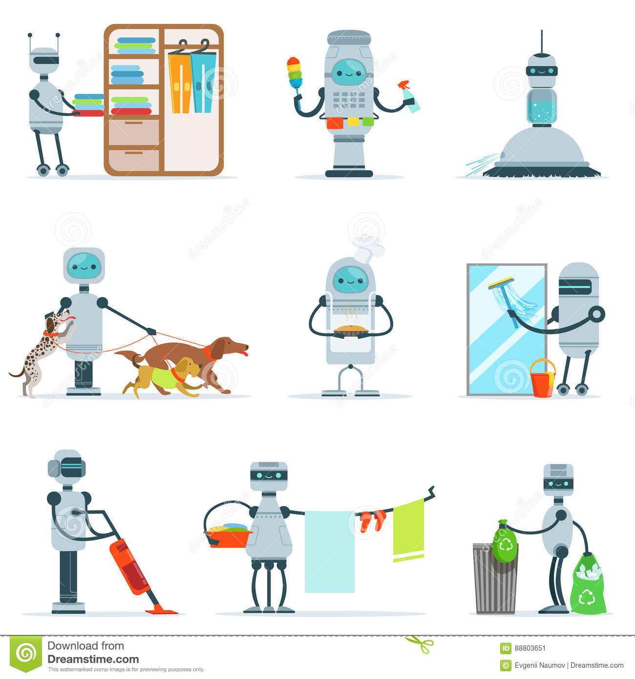 housekeeping household robot doing home cleanup and other duties housekeeping household robot doing home cleanup and other duties set of futuristic illustration servant android