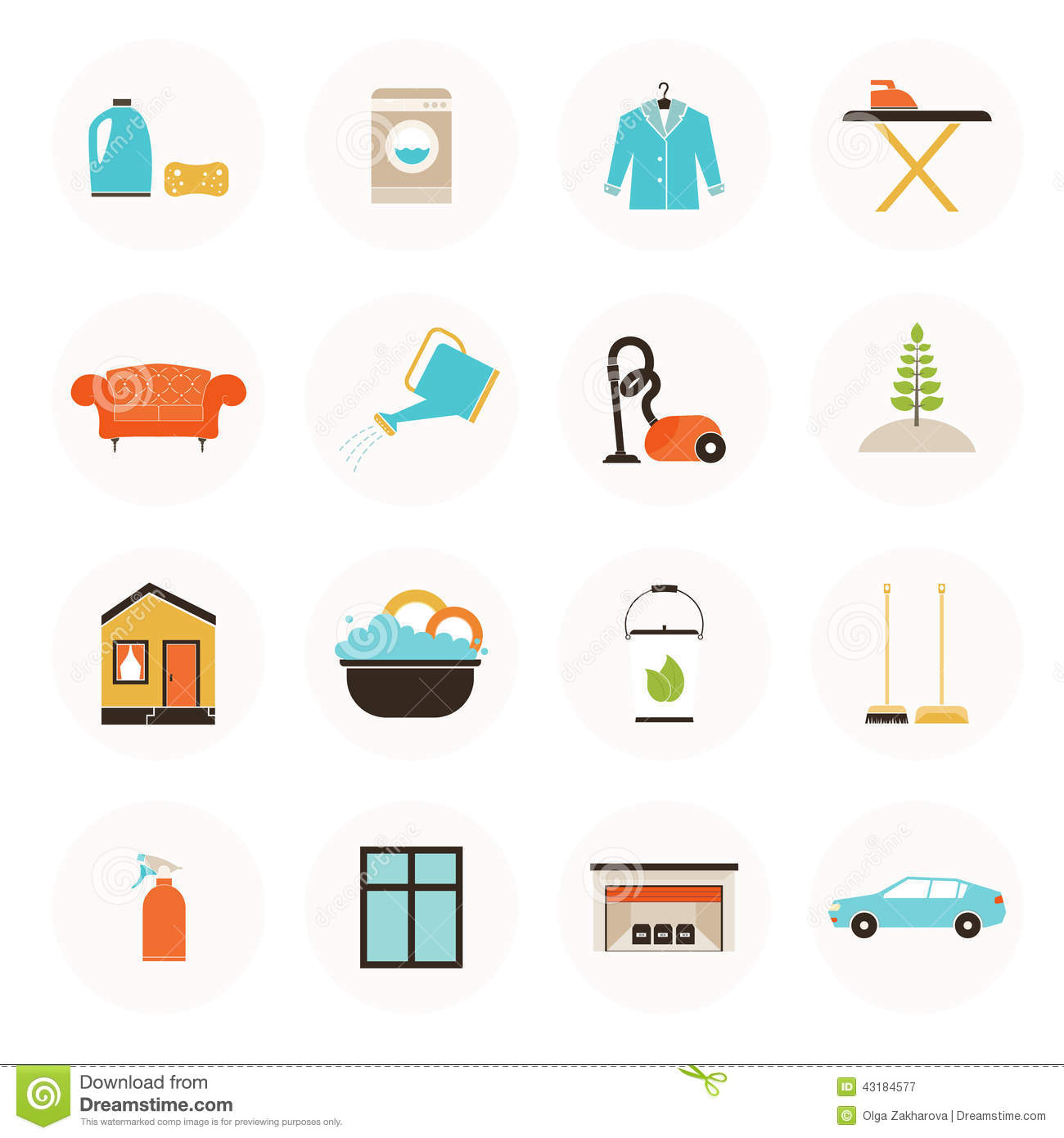 3d Furniture Planner Housekeeping Icons Stock Illustration Image 43184577