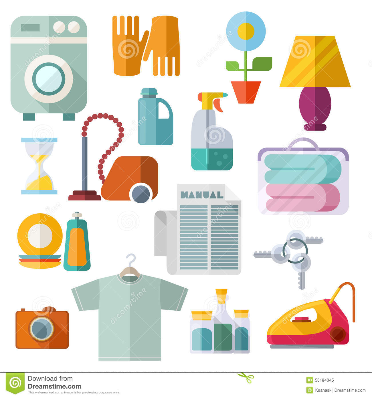 Stock Illustration Housekeeping Theme Flat Icons White Background Different Home Equipment Colorful Modern Set Isolated Objects Collection Image50184045 on Dusting Cleaning Clip Art Free